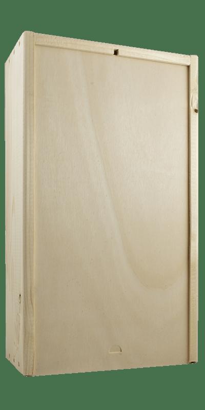 Houten 2 vaks kist met blanco schuifdeksel